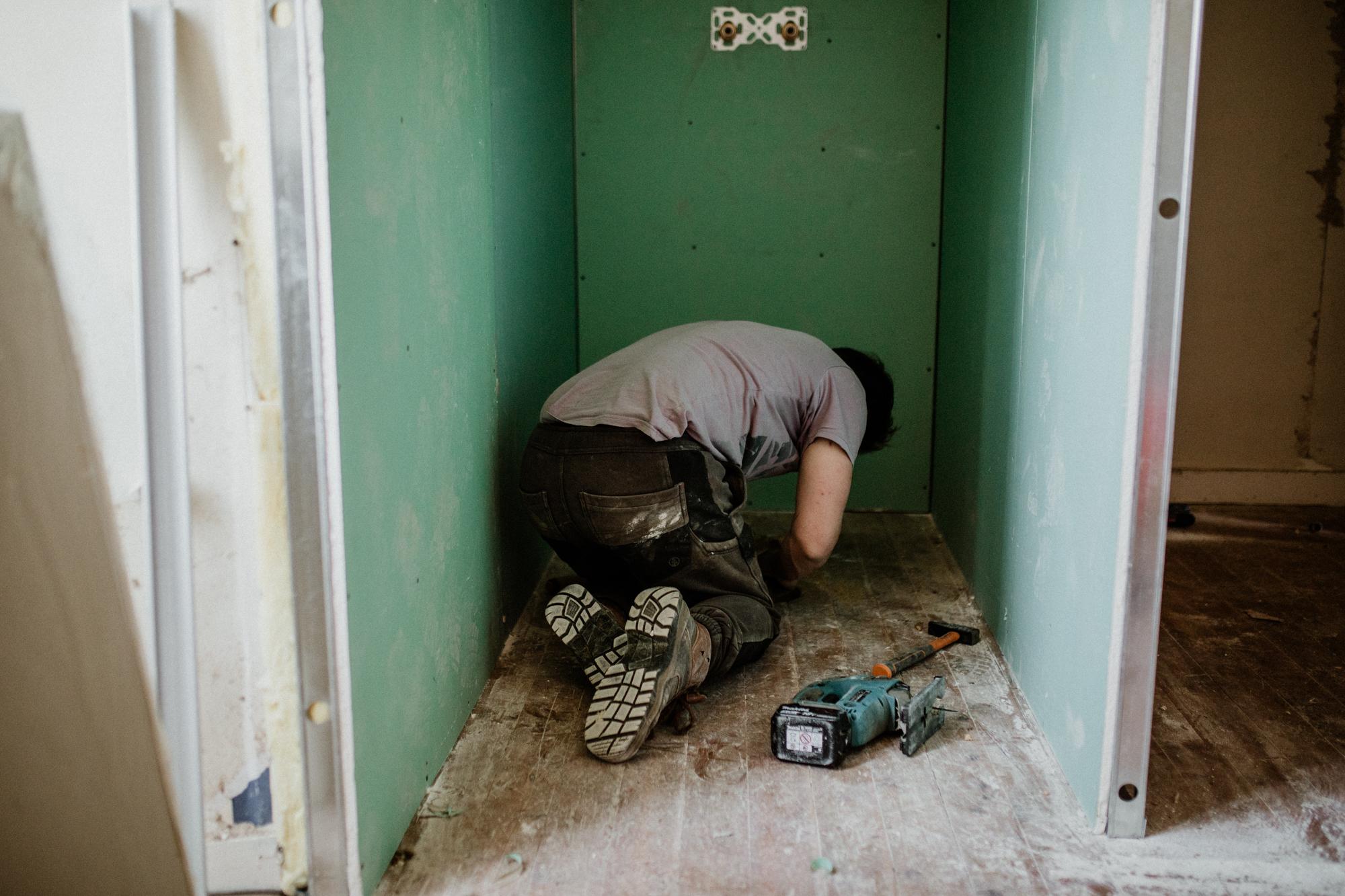 Construction douche salle de bain.